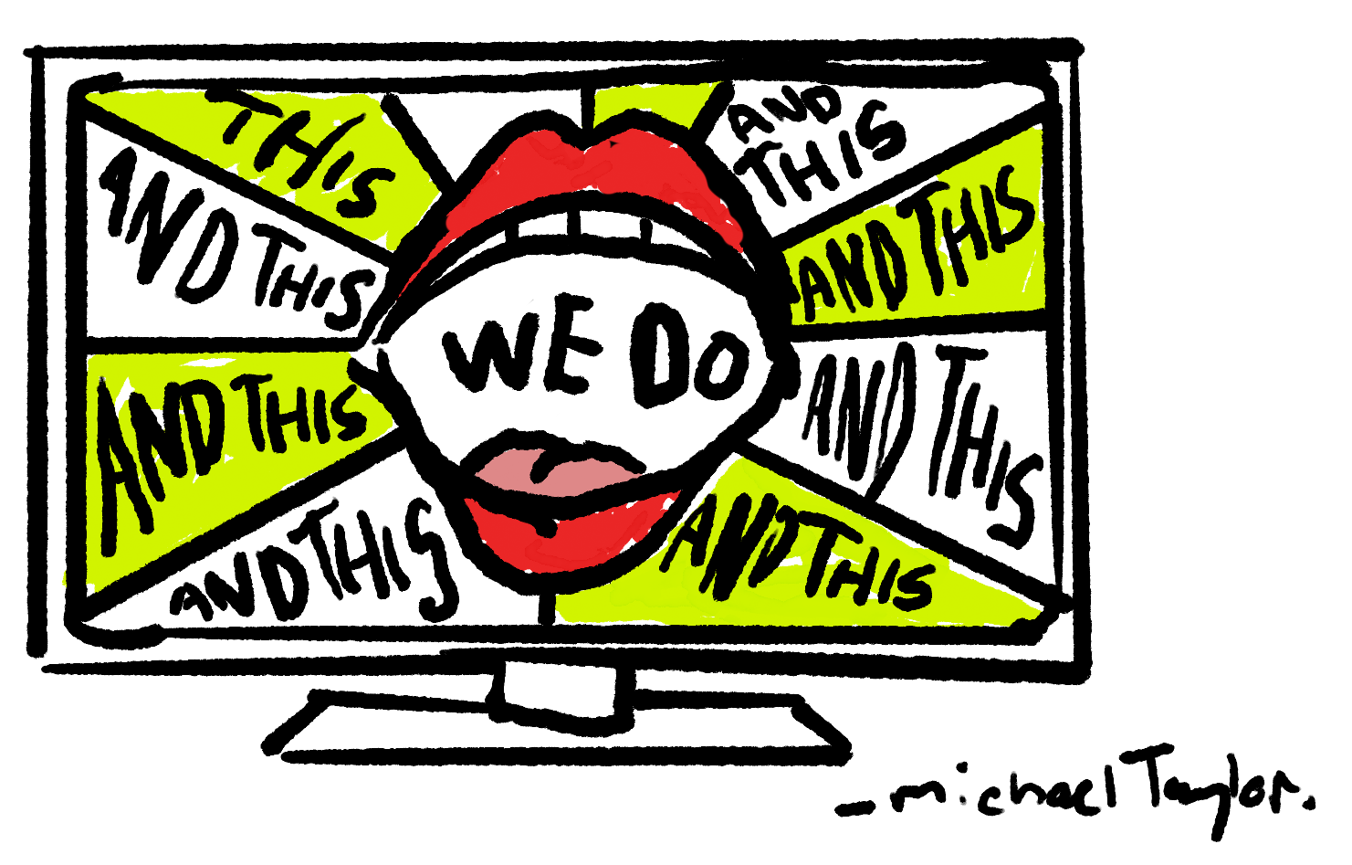 spot illustration lips screaming what you do