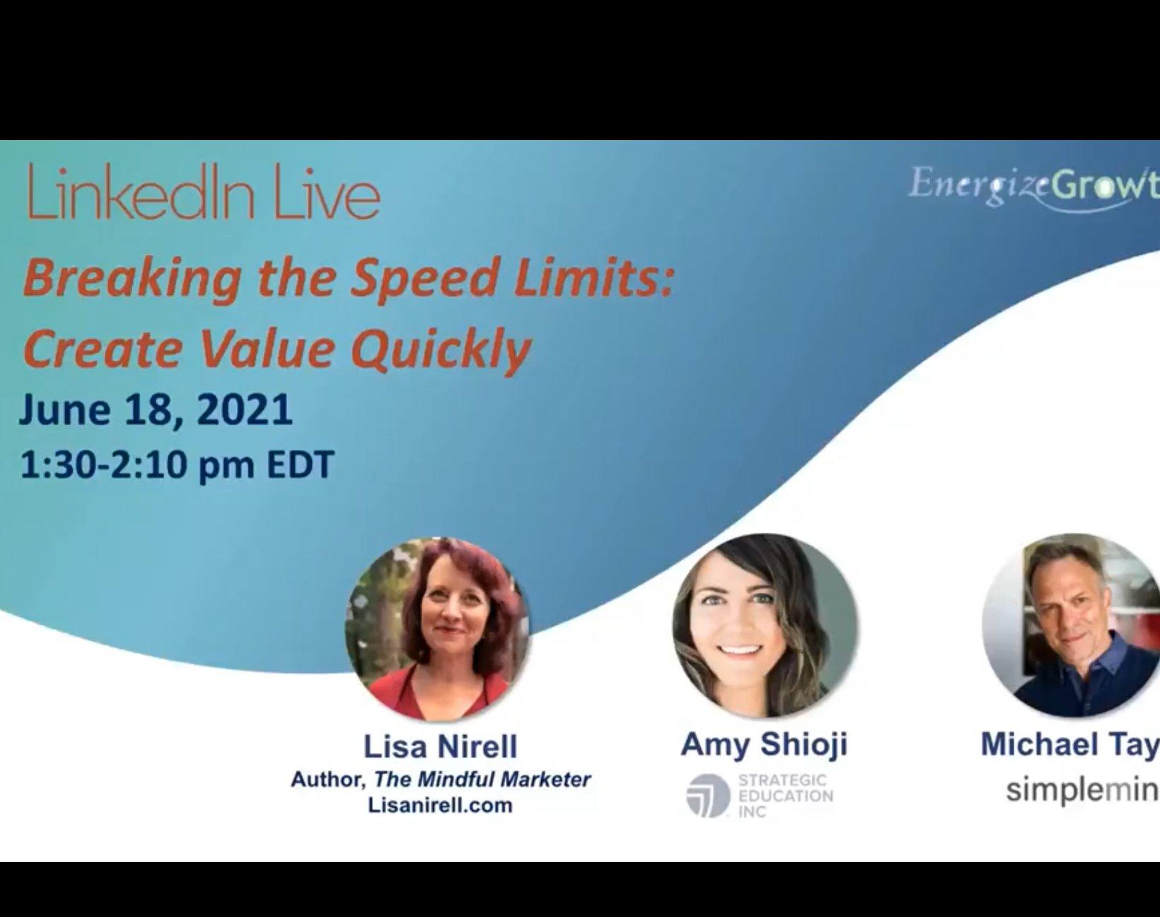 LinkedIn Live! Rapid Value creation banner